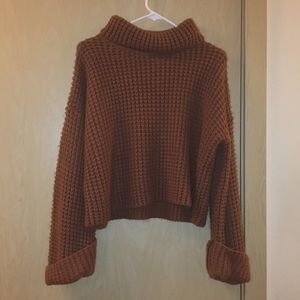 4a2ead25168d Goodnight Macaroon Sweaters -  Retta  Cognac Ribbed Turtleneck Sweater